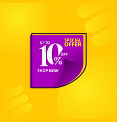 Discount label up to 10 special offer shop now vector