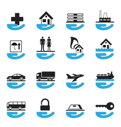 Diverse insurance icons set vector