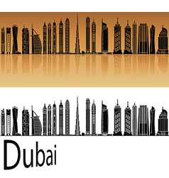 Dubai V2 skyline in orange vector image