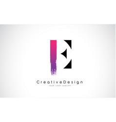 e letter logo design with creative pink purple vector image
