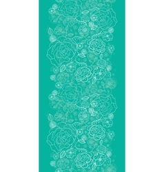 Emerald green floral lineart vertical seamless vector image