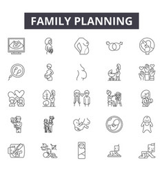 Family planning line icons signs set vector