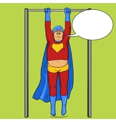 Fat superhero on horizontal bar comic vector