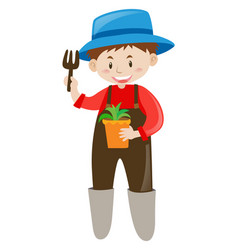 Gardener holding potted plant and fork vector