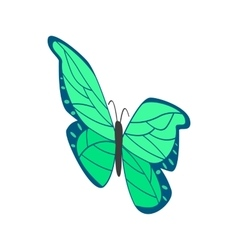 Green butterfly icon isometric 3d style vector