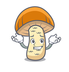 Grinning orange cap boletus mushroom character vector
