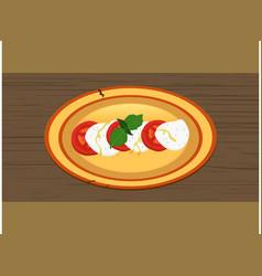 Hand drawn caprese salad on wooden panel vector