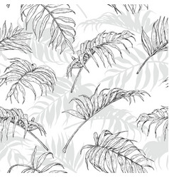 Hand drawn palm leaves pattern vector