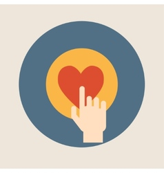 Hand pressing like heart button flat design vector
