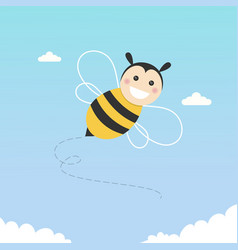 happy bee flying on a blue sky vector image