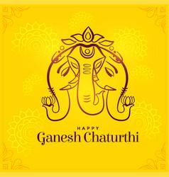 Happy ganesh chaturthi creative festival card vector