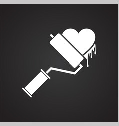 heart painting roll icon on black background for vector image