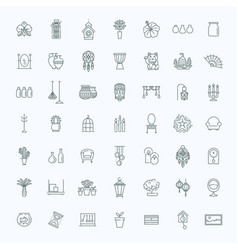 Home decoration thin line icons vector