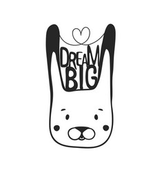 inspiration black and white with rabbit head vector image