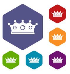 Jewelry crown icons set hexagon vector