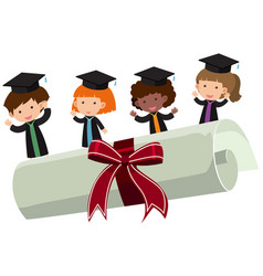 Kids with graduation gown and roll diploma vector