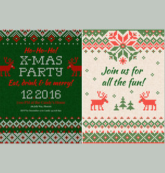 knitted invitation to christmas x-mas party vector image