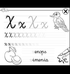 learn to write letter x workbook for children vector image