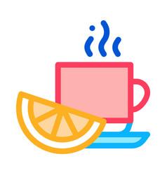 lemon tea cup icon outline vector image