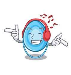 Listening music oxygen mask mascot cartoon vector