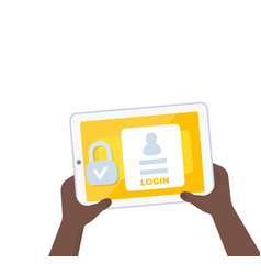 Login authentication tablet in hands vector