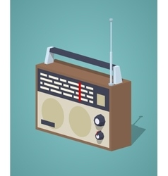 Low poly retro radio set vector image