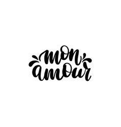 mon amour brush hand lettering vector image