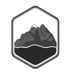 Monochrome silhouette of diamond shape emblem with vector