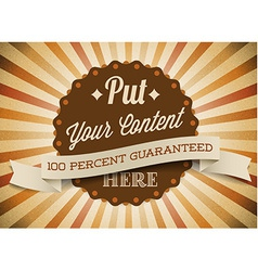 Old brown round retro vintage label vector