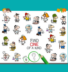 One of a kind game with people jobs color book vector