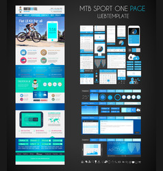 One page SPORT website flat UI design template vector image
