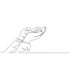 One single line drawing muslim people open vector