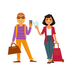 people travel flat icons man and woman on vector image
