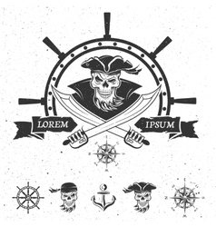 Pirate emblem and design elements vector