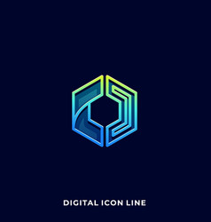 polygon line art design template vector image