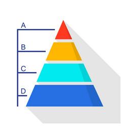 Pyramid diagram icon flat style vector