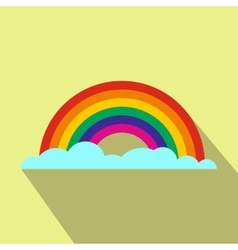 Rainbow flat icon with shadow vector image
