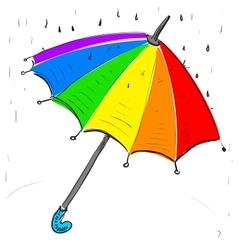 Rainbow umbrella under the rain vector image