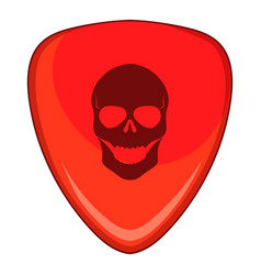 Red guitar pick with a skul icon cartoon style vector