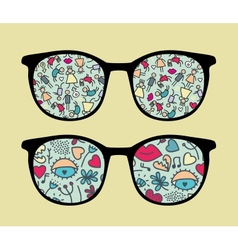 Retro sunglasses with people reflection vector