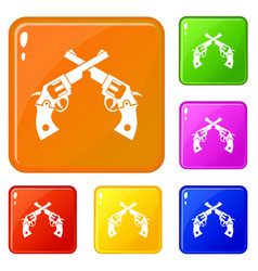 Revolvers icons set color vector