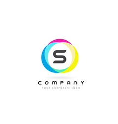 s letter logo design with rainbow rounded colors vector image