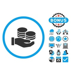 Salary Coins Flat Icon with Bonus vector image