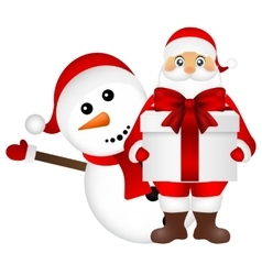 Santa Claus with snowman cartoon a gift vector image