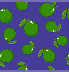 seamless pattern lime on purple background vector image