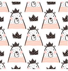 Seamless pattern with cute girl bear bears vector