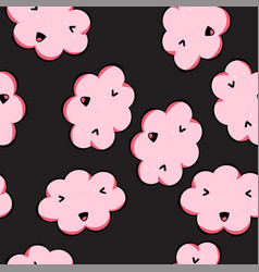 Seamless pattern with kawai pink clouds vector
