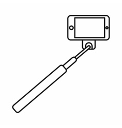 Selfie stick and smartphone icon outline style vector image