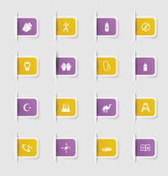 Set a collection unique paper stickers icons vector
