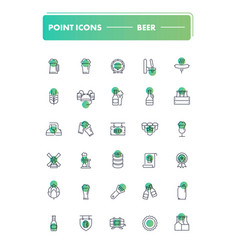 set of 30 line icons beer vector image